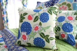 modern floral print bedding in blue and green