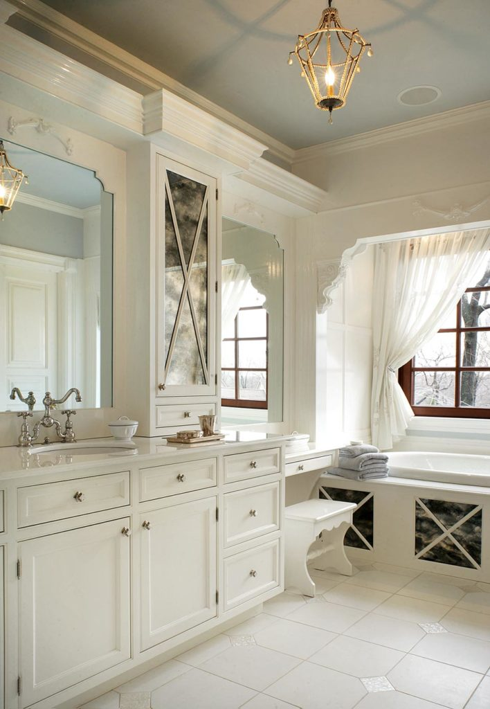 traditional bathroom design with powder blue