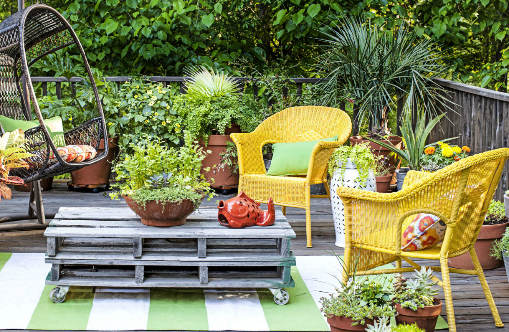 bright yellow patio