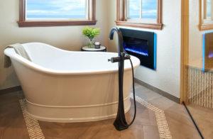 luxury master tub fireplace