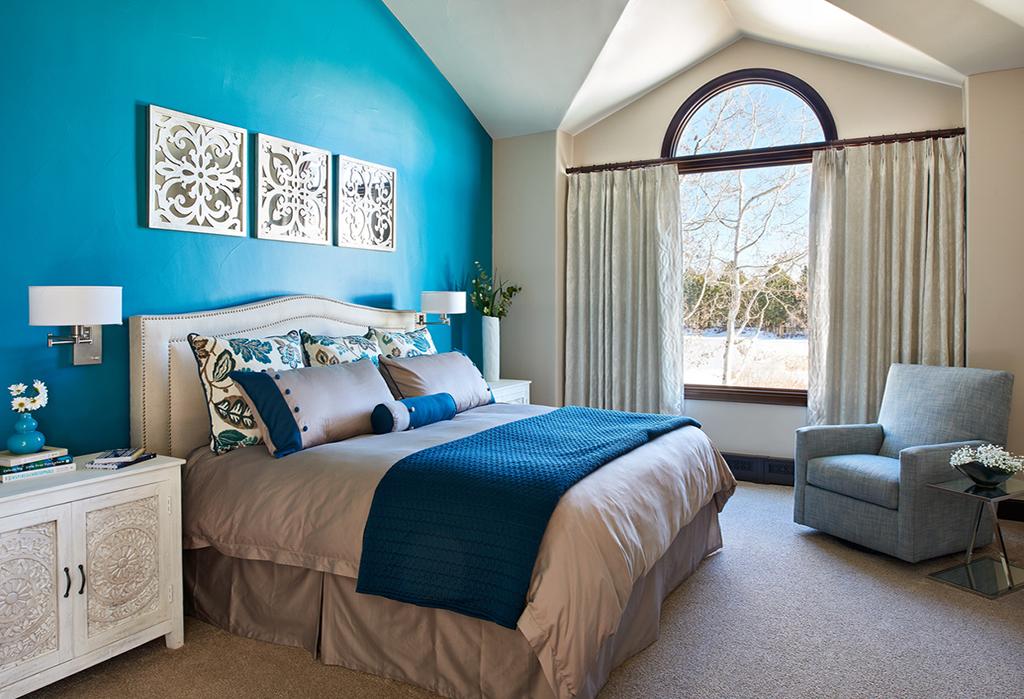bold blue master bedroom