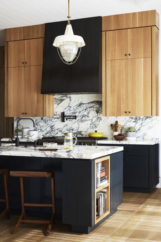 Black Kitchen With Marble Backsplash Denver CO
