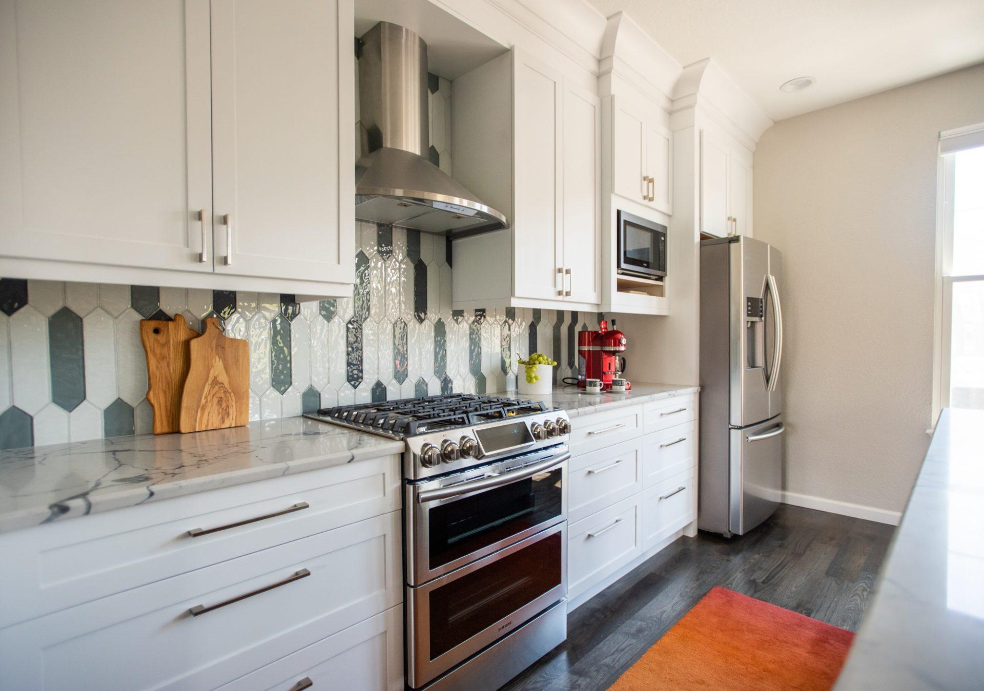Unique Glass backsplash design Denver Kitchen